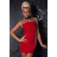 SEXY BANDEAU PARTY MINIDRESS WITH RIVETS RED UK 10/12 (M/L)