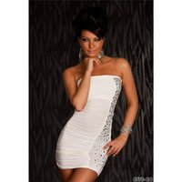 Sexy bandeau party mini dress with rivets cream UK 8/10...