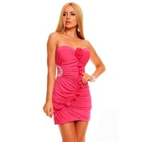SEXY BANDEAU EVENING DRESS MINIDRESS RHINESTONES FUCHSIA...