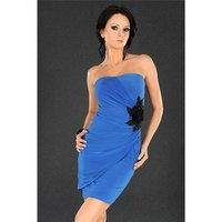 ELEGANT EVENING DRESS MINIDRESS WITH BLOOMS BLUE UK 10/12...