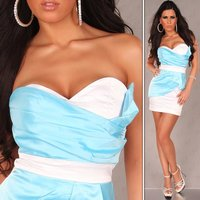 SEXY SATIN BANDEAU DRESS SHEATH DRESS TURQUOISE/WHITE UK 14