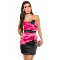 SEXY SATIN BANDEAU DRESS SHEATH DRESS FUCHSIA/BLACK UK 12