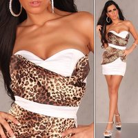 Sexy satin bandeau dress sheath dress leo-brown/white UK 14
