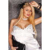 Precious satin bandeau dress mini dress rhinestones white...