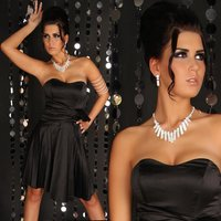 Sexy strapless satin evening dress black UK 10