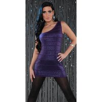 SEXY KNITTED ONE-SHOULDER MINIDRESS WITH SEQUINS PARTY...