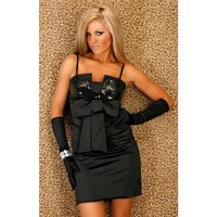 Elegant sequined satin dress with bow black UK 10