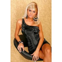 EXKLUSIVES ONE SHOULDER COCKTAIL-KLEID AUS SATIN SCHWARZ