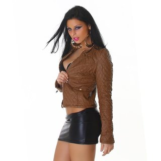 SEXY BIKER JACKET IN LEATHER-LOOK STITCHED WITH ZIPPER BROWN