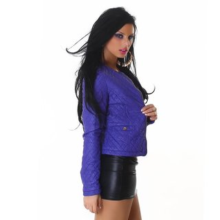 SEXY BIKER JACKET IN LEATHER-LOOK STITCHED WITH ZIPPER BLUE-VIOLET