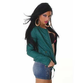 SEXY BIKER JACKET IN LEATHER-LOOK STITCHED WITH ZIPPER GREEN