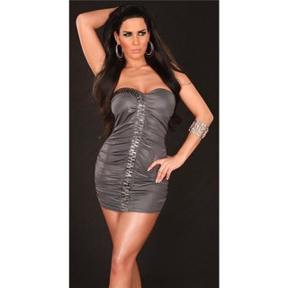 Sexy bandeau mini dress party dress with glas stones grey