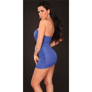 SEXY BANDEAU MINIDRESS PARTY DRESS WITH GLASS STONES BLUE