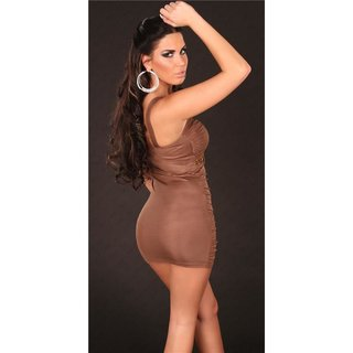 SEXY WET LOOK MINIDRESS PARTY DRESS WITH GLASS STONES BROWN