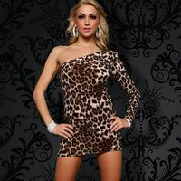 SEXY ONE-ARMED MINIDRESS LEOPARD LOOK BEIGE/BROWN UK 10 (M)