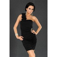 ELEGANTES ONE-SHOULDER ABENDKLEID MINIKLEID SCHWARZ 36/38