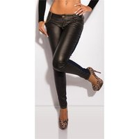 SEXY SKINNY DRAINPIPE JEANS WITH LEATHER-LOOK DARK...