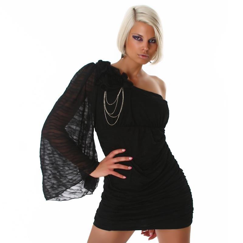 5332b975299 ELEGANT ONE-SHOULDER CHIFFON EVENING DRESS BLACK UK 8 (S)