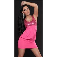 SEXY MINIDRESS PARTY DRESS WITH SEQUINS FUCHSIA UK 10/12
