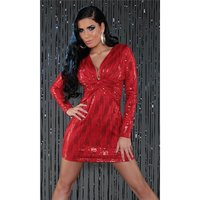 SEXY LANGARM MINIKLEID PARTY KLEID MIT PAILLETTEN ROT 34