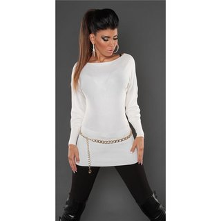 Noble fine-knitted sweater with lace and rivets white