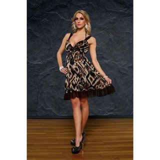 Elegant evening dress leopard look beige/brown UK 8/10 (S/M)