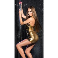 Sexy stripper mini dress with chiffon clubwear gold/black