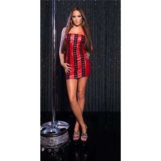 Sexy wet look stripper mini dress with metal eyelets clubwear red