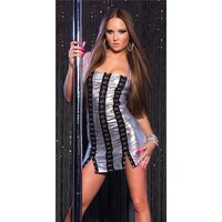 Sexy wet look stripper mini dress with metal eyelets...