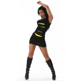 Sexy mini dress with rifts neon clubbing black/yellow
