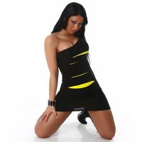 SEXY MINIDRESS WITH RIFTS NEON CLUBBING BLACK/YELLOW