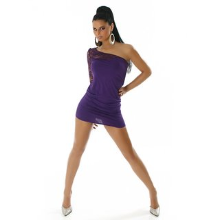 ELEGANT ONE-SHOULDER MINIDRESS WITH LACE PURPLE
