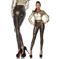Sexy high-waisted leggings in reptile look black/brown