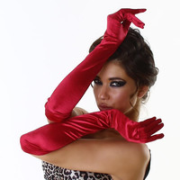 Elegant womens satin long elbow gloves red