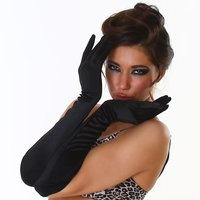 ELEGANT WOMENS SATIN LONG ELBOW GLOVES BLACK