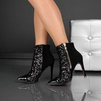 NOBLE VELVET ANKLE BOOTS SHOES WITH SEQUINS BLACK