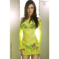 Sexy babydoll made of lace lingerie gogo neon-yellow UK...