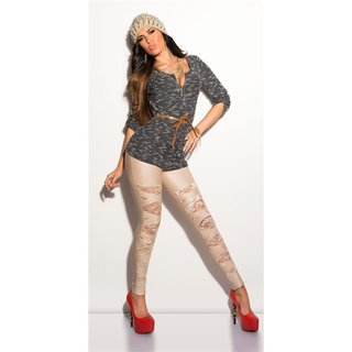Sexy wet look leggings with lace gogo clubwear beige