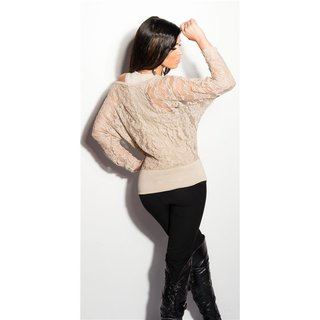 ELEGANT 2IN1 LACE SHIRT WITH LONG SLEEVES BEIGE