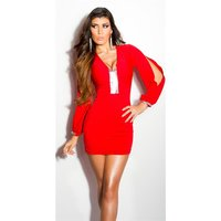 Sexy glamour mini dress with open sleeves red