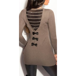 PRECIOUS FINE-KNITTED LONG SWEATER WITH CHIFFON AND RHINESTONES CAPPUCCINO