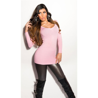 PRECIOUS FINE-KNITTED LONG SWEATER WITH CHIFFON AND RHINESTONES PINK