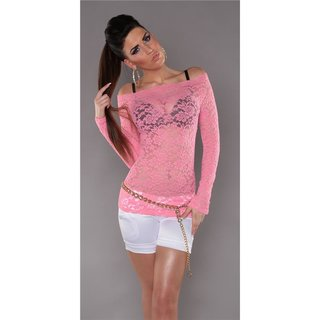 Sexy long-sleeved shirt made of lace transparent pink
