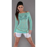Sexy long-sleeved shirt made of lace transparent mint...