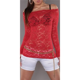 SEXY LONG-SLEEVED SHIRT MADE OF LACE TRANSPARENT RED