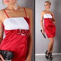 ELEGANT SATIN EVENING DRESS RED / WHITE