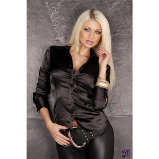 Elegant classic long-sleeved satin blouse black