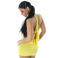Sexy mini dress with sexy back view yellow