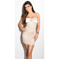 SEXY LACE EVENING DRESS MINIDRESS WITH RHINESTONES BEIGE