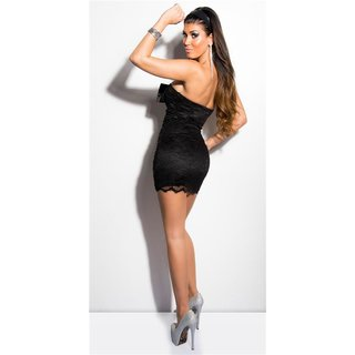 SEXY LACE EVENING DRESS MINIDRESS WITH RHINESTONES BLACK